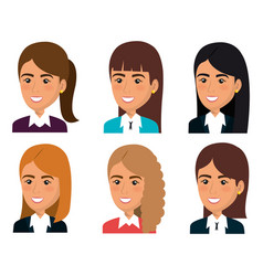 Group of businesswoman teamwork vector