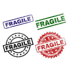 Grunge textured fragile stamp seals vector