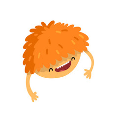 Happy cartoon fluffy monster character with funny vector