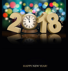 Happy new year background with 2018 a clock vector