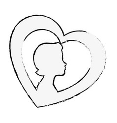 Heart with woman silhouette vector