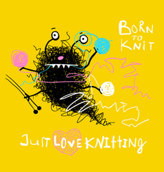Hobby knitting messy cute character vector