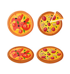 Hot fresh pizza icon vector