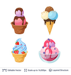 ice cream refreshing desserts set vector image