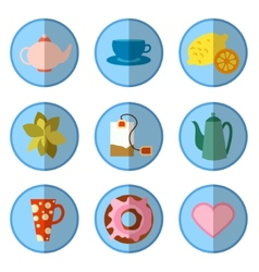 icon set with tea in flat style vector image