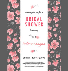 Invitation bridal shower card with sakura flowers vector