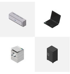 Isometric business set of laptop wall cooler vector