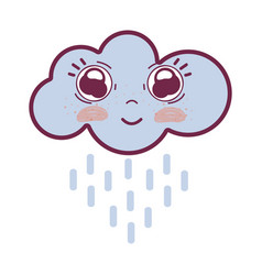 kawaii happy cloud raining with big eyes and vector image