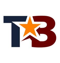Letter tb star modern vector