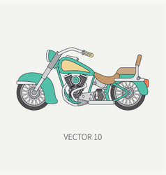 line flat color motorcycle icon - classic vector image