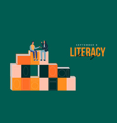 Literacy day card book pile cartoon and people vector