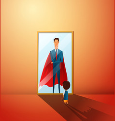 little boy dreaming to be super businessman in vector image