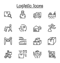 Logistic delivery icons set in thin line style vector