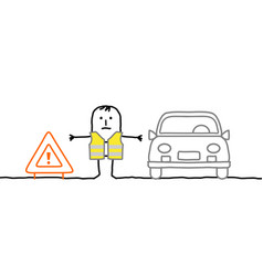 Man with safety kit stopped on the road vector