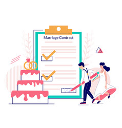 marriage contract concept for web banner vector image