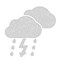 Mesh thunderstorm icon vector
