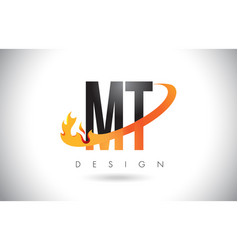 Mt m t letter logo with fire flames design and vector