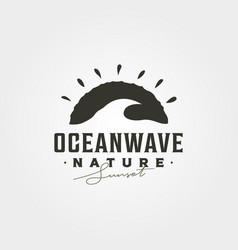 ocean wave vintage logo graphic symbol design vector image
