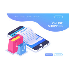 online shopping isometric concept shopping bags vector image