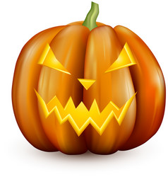 Orange 3d halloween pumpkin on white vector