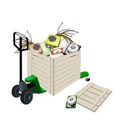 Pallet Truck Loading Hardware Computer in Shipping vector