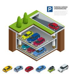 Parking garage underground indoor car park urban vector