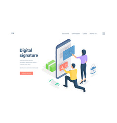 People submitting digital signature to online vector