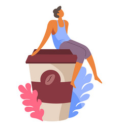 Person sitting on lid paper coffee cup vector