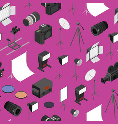 photo studio equipment seamless pattern background vector image