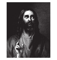 Portrait jesus christ is an engraving by vector