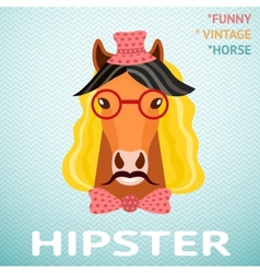 Portrait of funny vintage hipster horse with vector image