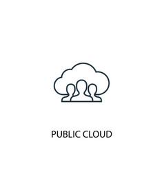 Public cloud concept line icon simple element vector