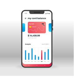 Red and blue banking ui ux gui screen for mobile vector