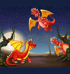 red dragon at night vector image