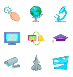 Removable wireless tech icons set cartoon style vector