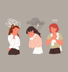 Sad unhappy woman in stress depression mental vector