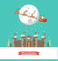santa sleigh flying over castle in winter season vector image