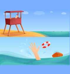 Sea safety banner set cartoon style vector