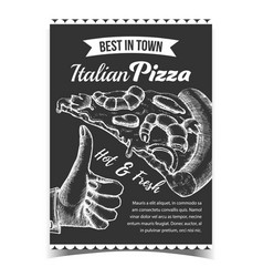 seafood italian sliced pizza on poster vector image