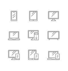 set line icons devices and gadgets vector image