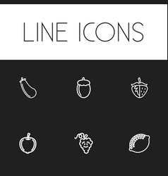 Set of 6 editable cooking icons includes symbols vector