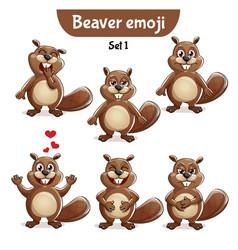 Set of cute beaver characters set 1 vector