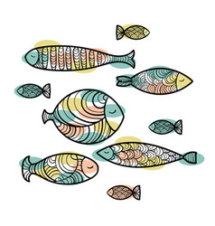 set of cute sea fish vector image