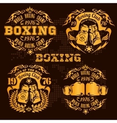 Set of vintage boxing emblems labels badges vector