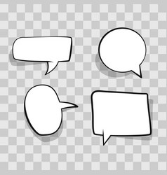 Set white speech bubble cloud comic template on vector