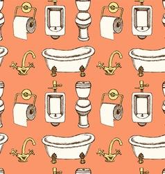 Sketch bathroom and toilet equipment in vintage vector image
