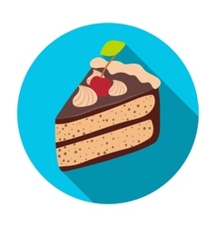 Slice of chocolate cake icon in flat style vector