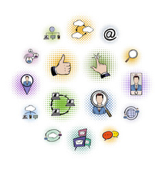 social network comics icons set vector image