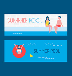 summer pool posters with text vector image