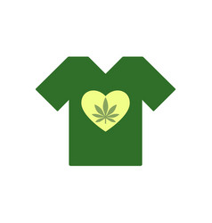 T-shirt with heart symbol and cannabis leaf vector